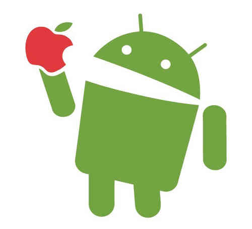 AndroidStickers.com Android eat apple mini